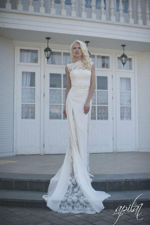 Wedding Dress, Ivory Wedding Dress, Crepe And Lace Dress With Train ...