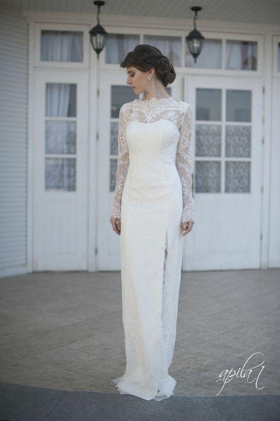 Ausgestattet Art-Spitze Lange Hochzeits-Kleid Mit Ärmeln Lase L38 ...