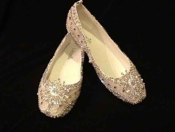 زفاف - أحذية زفاف العرسان شقق مطرز اليد الراين مزين