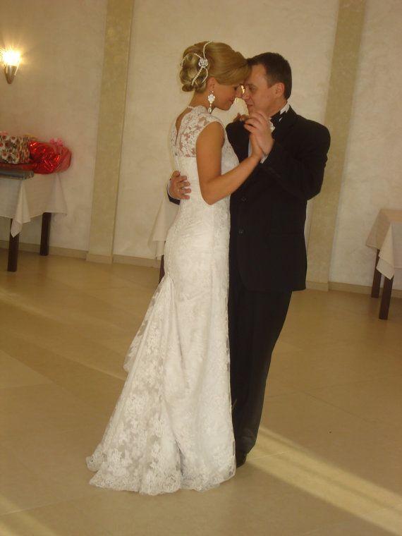 زفاف - الدانتيل فستان الزفاف الطويل مع البركة Traine - أوكسانا