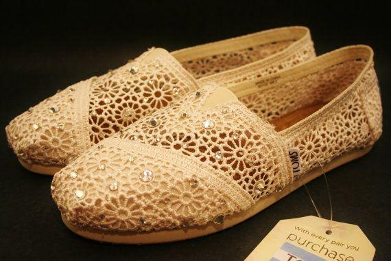 زفاف - تومس أحذية الزفاف، أوف وايت كريم ECRU الطبيعية الكروشيه مع كريستال سواروفسكي