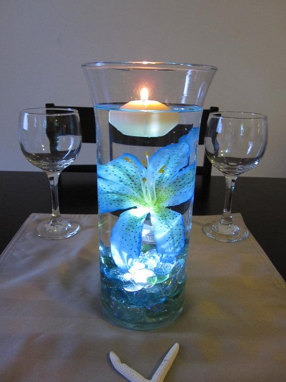 Ocean blue tiger lily wedding centerpiece kit marbles