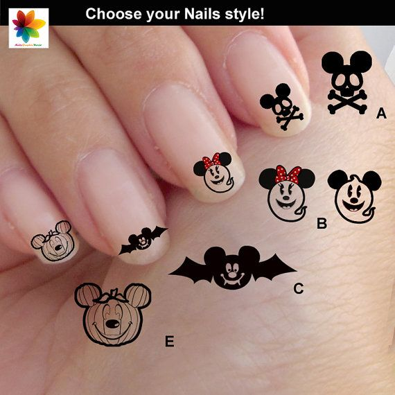 Disney Halloween Nail Art, Cartoon, Childrens Nail Art, Mickey Mouse ...