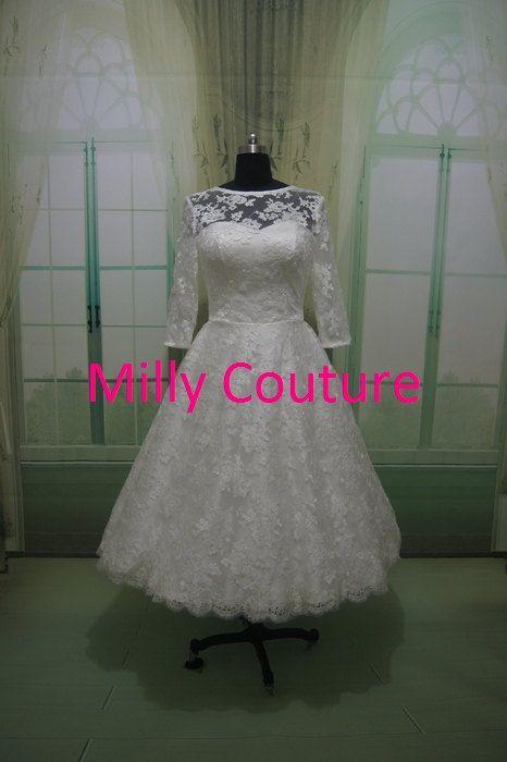Свадьба - Изабелла - кружева короткое свадебное платье, ретро вдохновил чай длина свадебное платье, 1950 свадебное платье, в стиле 50-х го