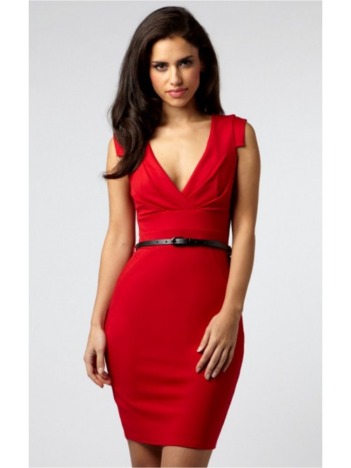 Wedding - Trendy Red Sheath Short V-neck Dress