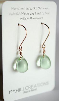 Le Green Gl Earrings Pale Drop Stone Made In Hawaii Paka Ua Plump Mint