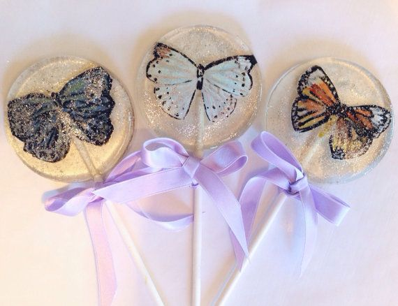 3 Natural Jasmine Flavored Lollipops With Hand Painted Marzipan