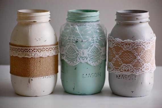 Set Of 3 Painted U0026 Distressed Mason Jars With Lace And Burlap, Farmhouse  Decor, Rustic Wedding Decor, Shabby Chic Wedding, Shabby Chic Decor
