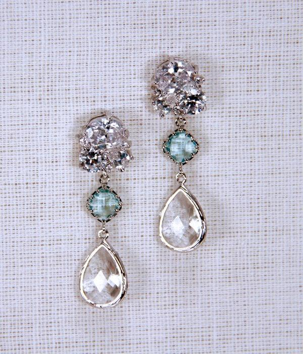 Crystal Bridal Earrings Drop Wedding Aquamarine Something Blue Vintage Ready To Ship Style 001