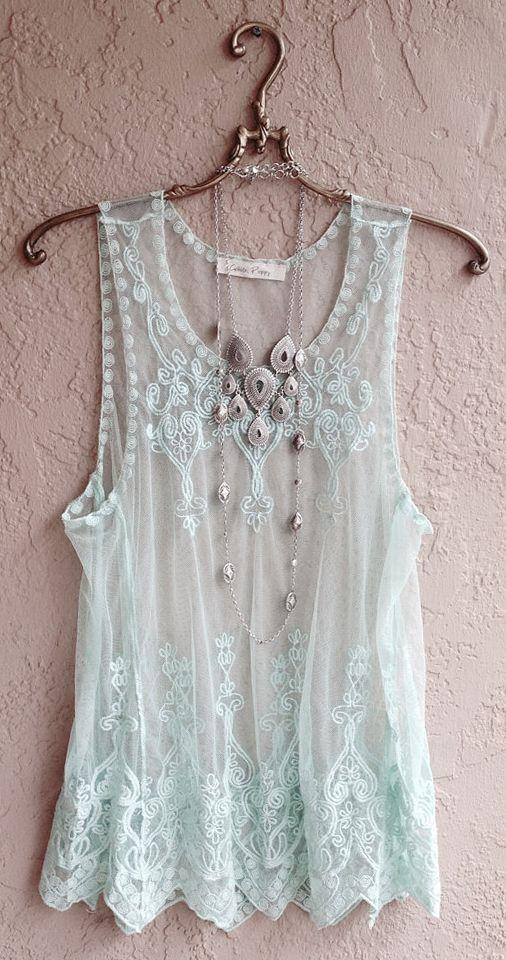 Wedding - Reserved For Tracy Mint Green Sheer Embroidered Camisole With Bohemian Gypsy Style Design