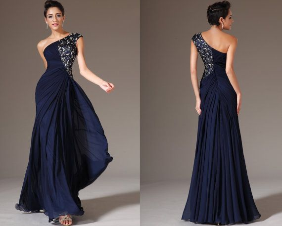 Custom Made New Dark Blue One-Shoulder Formal Dress Prom Dress ...