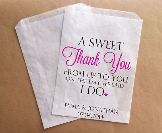 Thank You Wedding Favors Bags Custom Candy Buffet Guest Bag Lolly