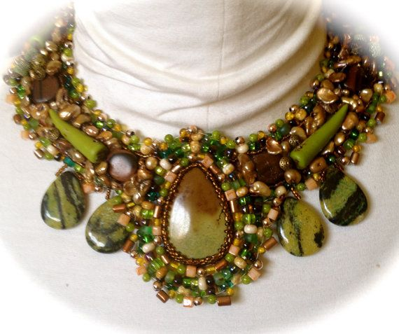 Wedding - Boho Beaded Necklace, Green And Brown Beaded Collar, Yellow Turquoise Teardrop Cabochon And Briolette Beads