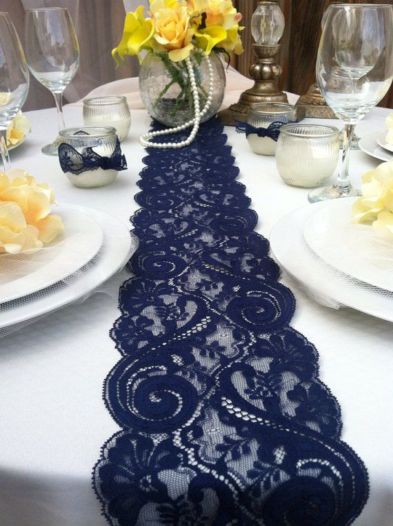 Navy Blue Lace Table Runner Weddings Decor 2 Yards 6ft 8 Wide X78 Inches Long
