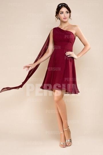 robe courte demoiselle d 39 honneur une paule 2128845. Black Bedroom Furniture Sets. Home Design Ideas