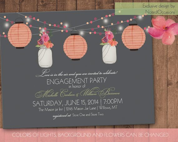 Wedding - Mason Jar & Paper Lanterns Engagement Party Invite, Bridal Shower, Garden Party