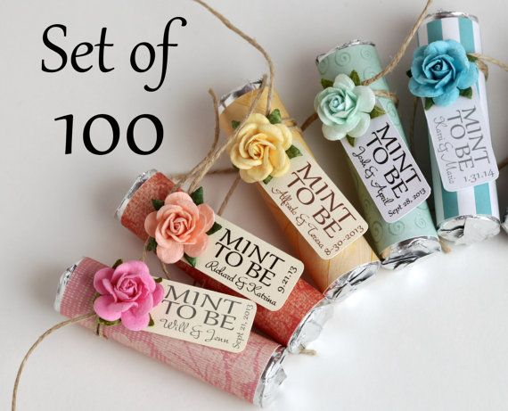 set of 100 mint wedding favors with personalized quot mint to