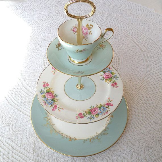 alice counts stars vintage china aqua blue cupcake stand or 3 tier cake plate for high tea birthday or garden party