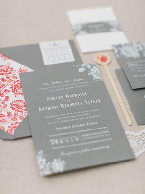 زفاف - اشلي أنتوني رمادي وأبيض احباط دعوات الزفاف