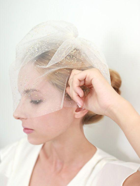 Mariage - Voile de la mariée, Bridal Veil, Glitter Veil, or Veil, Fard à joues, le voile de visage, Mini Veil - Style 304