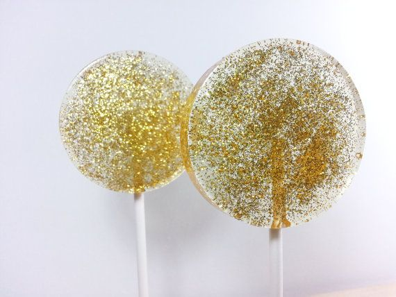 Gold Wedding Favors, Hard Candy Lollipops, Gold Candy
