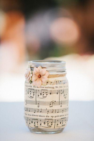 Wedding - Mason Jar Wrapped In Sheet Music