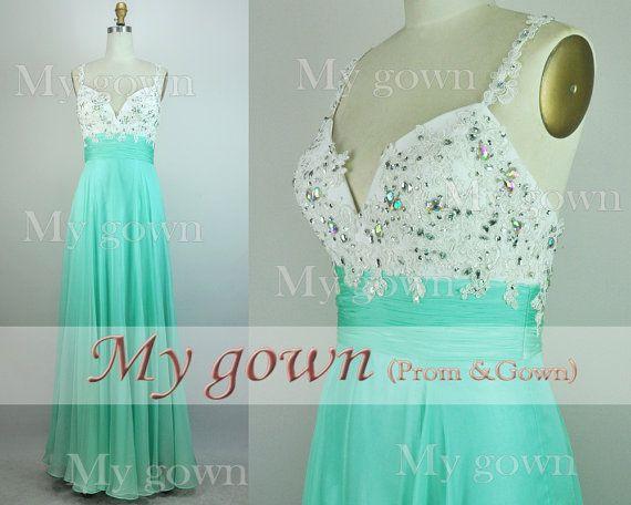 2014 Mint Lace Abendkleid, Straps Spitze Mit Perlen Verziert Chiffon ...