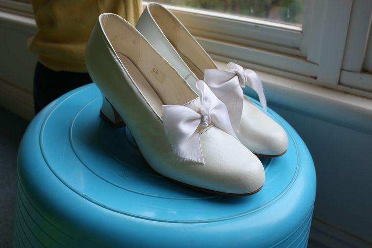 Свадьба - Алан Pinkus Кожа Свадебные Туфли, Размер 6, Жемчужно-Белый, Состояние Fab