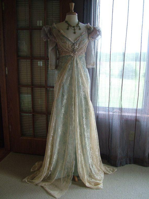 "Wedding - Original Handmade Vintage Inspired Cinderella ""Ever After Breathe"" Wedding Gown Victorian Empire Style"