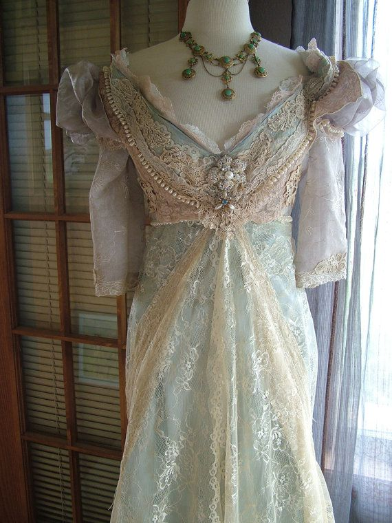 "Wedding - Original Handmade Vintage Inspired Cinderella ""Ever After Breathe"" Wedding Gown Victorian Empire Style"