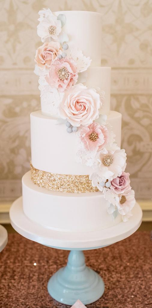 Wedding - Sequins And Flowers Cake