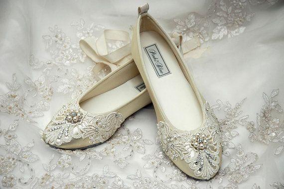top fashion dea61 0afc7 Hochzeits-Schuhe - Ballerinas, Weinlese-Spitze, Mit ...