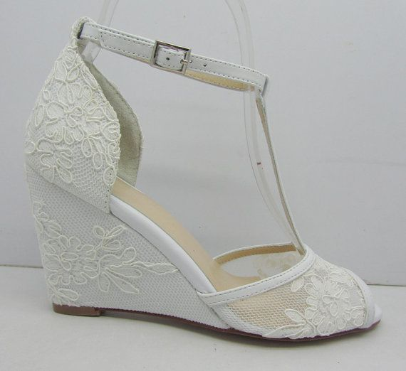 White Lace Wedding Shoes,Lace Wedge Bridal Shoes,Peeptoes ...