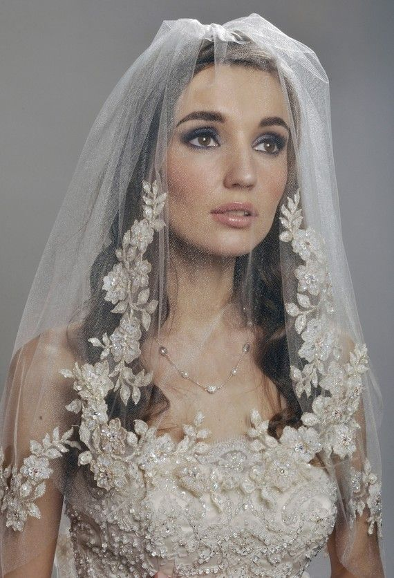 Wedding - Wedding Veil - Two Tier Veil With Gorgeous FRENCH Lace Appliques Adorned With Swarovski Crystals, Embroidery, And Sequins