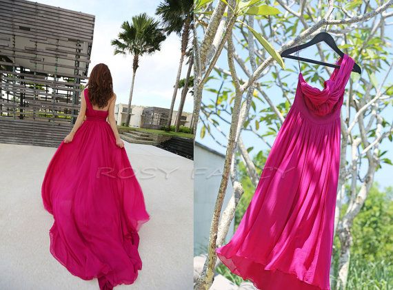 Chiffon kleid one shoulder