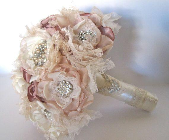 Hochzeits Blumenstrauss Vintage Inspirierte Stoff Brosche Bouquet In