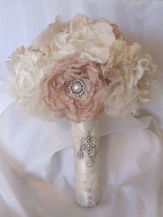 Wedding Bouquet Vintage Inspired Flower Brooch Ivory And Champagne With Rhinestone Pearl Accents Custom Made To Your Colors