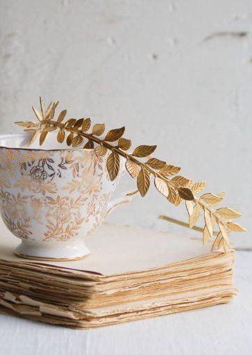 زفاف - GOLD ليف العصابة الذهبي ليف زفاف اغريقي الزفاف الرومانسية الذهب غابة حديقة