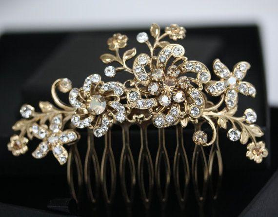 Hochzeit - Gold-Blumen-Haar-Kamm, Braut Kopfstück In Swarovski Kristall, Hochzeitshaarschmuck, Strass Golden Shadow SABINE