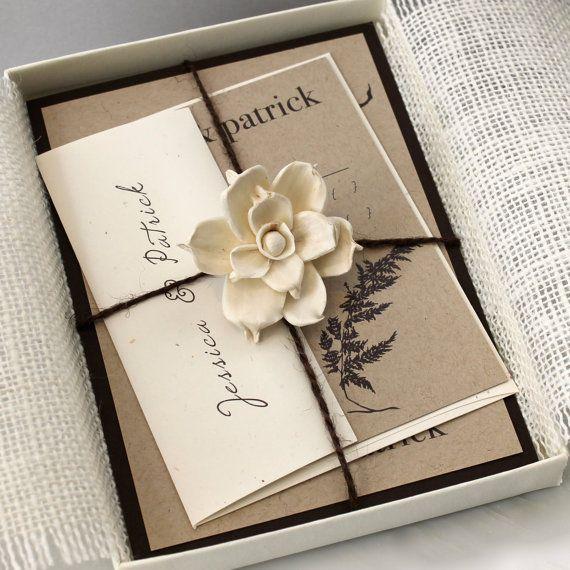 ivory rustikale hochzeits einladungen elfenbein einladung. Black Bedroom Furniture Sets. Home Design Ideas