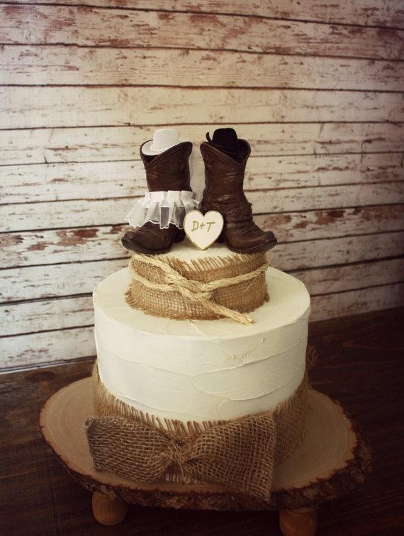 Wedding cowboy boots wedding cake topper western wedding cowboy