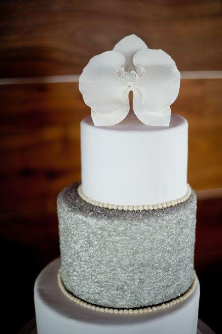 White Orchid Wedding Cake