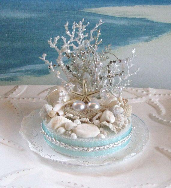 Wedding - Seashell Beach Wedding Cake Topper-Pearl-Coral-Wedding Cake Topper