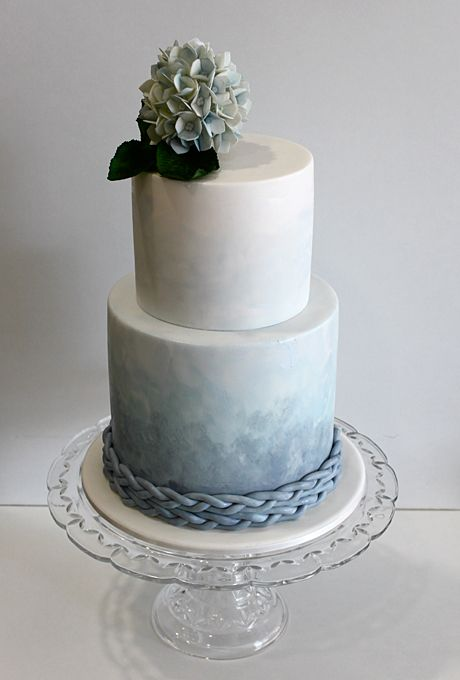 Two Tier Blau Ombre Wedding Cake Ein Aquarell Hochzeitstorte