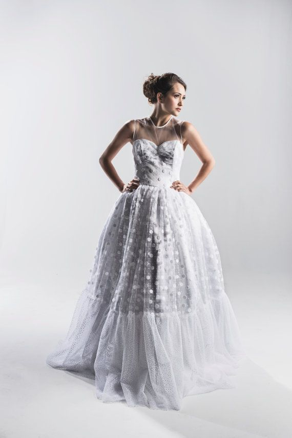 Retro Polka Dot Wedding Dress Couture Wedding Gown Colored