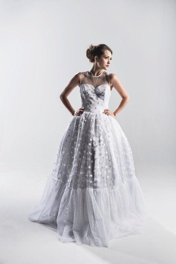 Retro-Tupfen-Hochzeitskleid - Couture Brautkleid - Hochzeitskleid ...