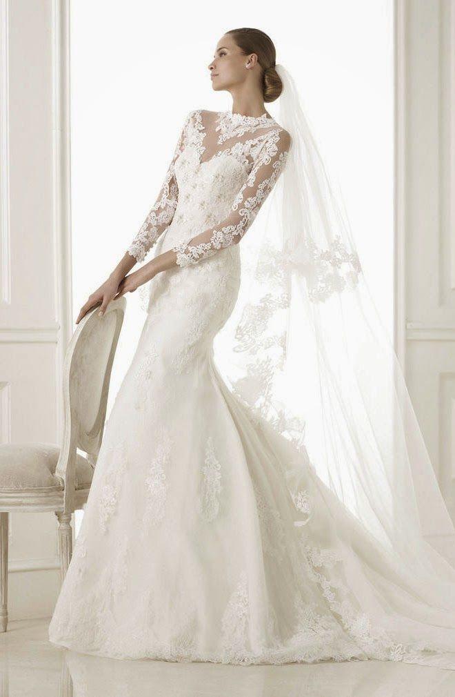 Mariage - Manches longues et 3/4 Longueur manches robe de mariage Inspiration