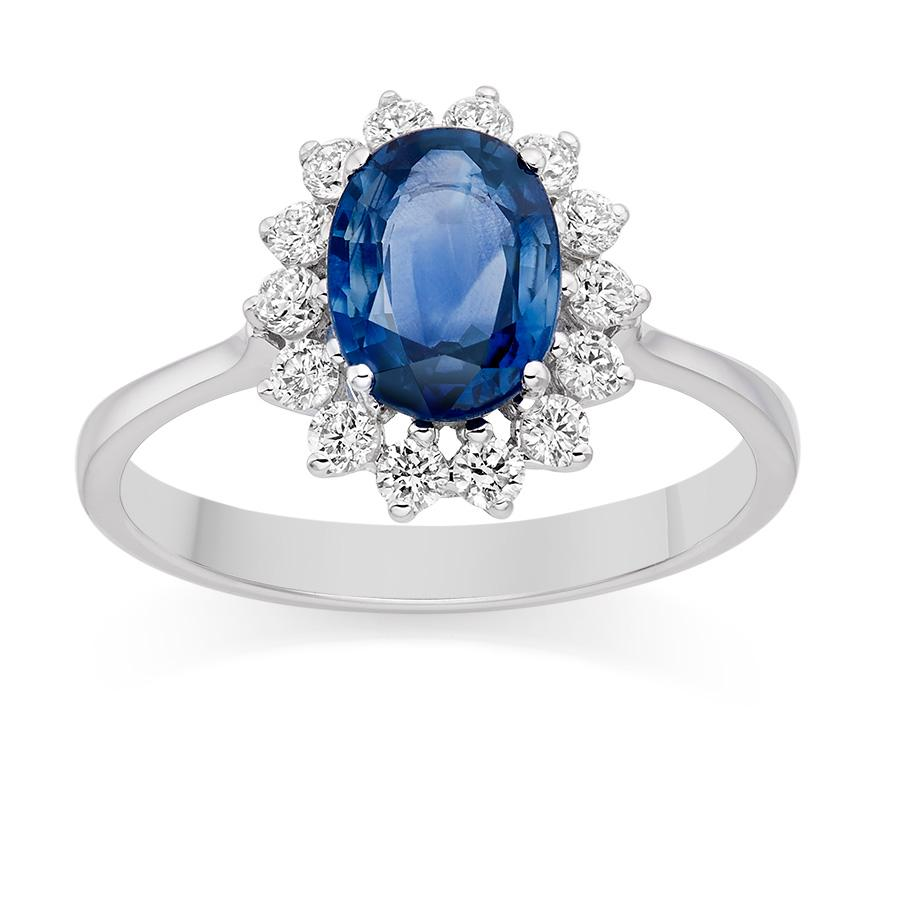 Weißgold ring mit saphir  Kate Look A Like Wedding Ring - Blauer Saphir Und Diamanten Ring ...