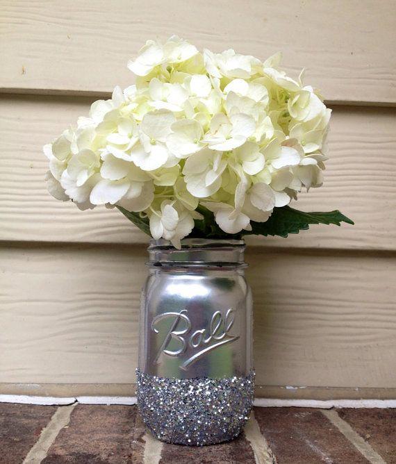 3 shining shimmering silver painted distressed mason jars vase vintage centerpiece wedding decor ball kerr rustic wedding glitter sparkling