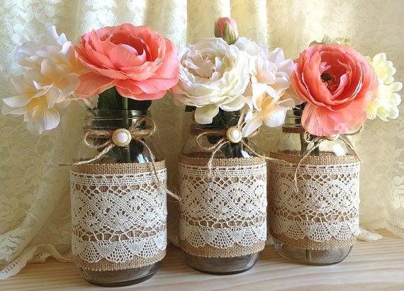 Boda - 3 de arpillera y encaje cubierto Tarro Jarrones boda Deocration, ducha nupcial, compromiso, fiesta de aniversario de la decoraci
